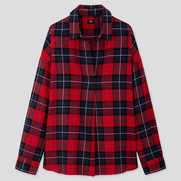 WOMEN FLANNEL CHECKED SKIPPER COLLAR LONG-SLEEVE SHIRT, RED, large