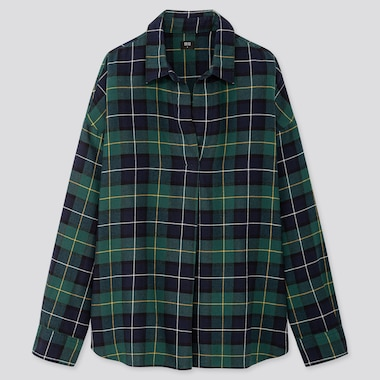 WOMEN FLANNEL CHECKED SKIPPER COLLAR LONG-SLEEVE SHIRT, GREEN, medium