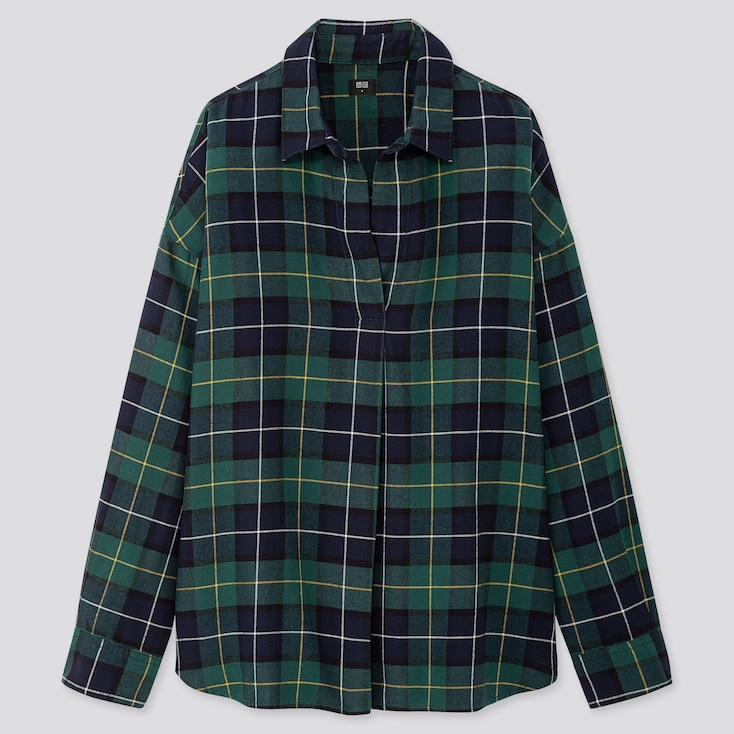 WOMEN FLANNEL CHECKED SKIPPER COLLAR LONG-SLEEVE SHIRT, GREEN, large