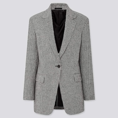 WOMEN TWEED HOUNDSTOOTH PRINT LONG BLAZER JACKET
