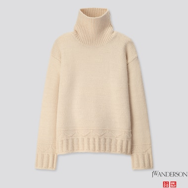 WOMEN LOW GAUGE TURTLENECK SWEATER (JW ANDERSON), NATURAL, medium