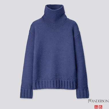 WOMEN LOW GAUGE TURTLENECK SWEATER (JW ANDERSON), BLUE, medium