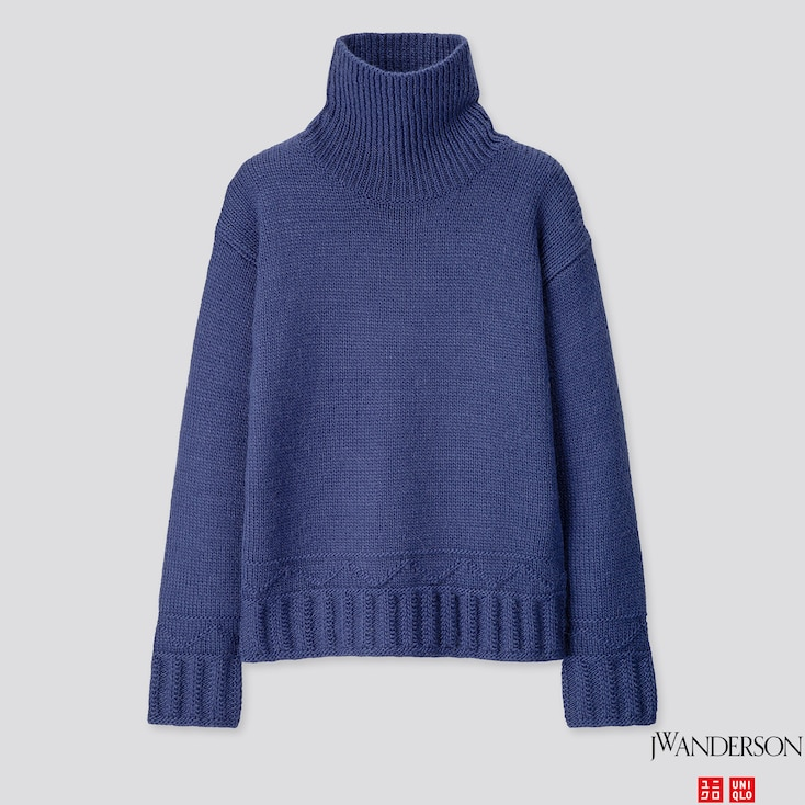 WOMEN LOW GAUGE TURTLENECK SWEATER (JW ANDERSON), BLUE, large