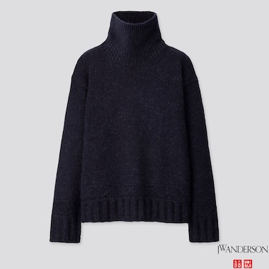 WOMEN LOW GAUGE TURTLENECK SWEATER (JW ANDERSON), NAVY, medium