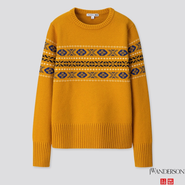 WOMEN LAMBSWOOL-BLEND CREW NECK SWEATER (JW ANDERSON), YELLOW, large