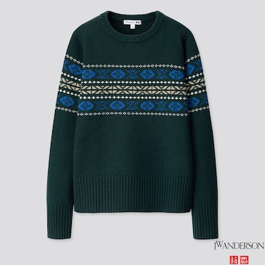 WOMEN LAMBSWOOL-BLEND CREW NECK SWEATER (JW ANDERSON), DARK GREEN, medium