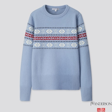 WOMEN LAMBSWOOL-BLEND CREW NECK SWEATER (JW ANDERSON), BLUE, medium