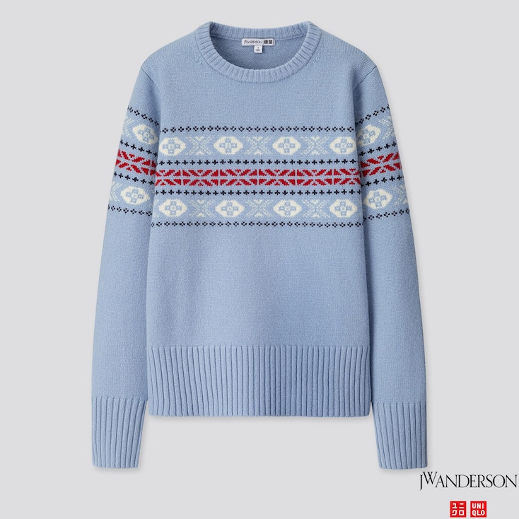 Women Lambswool-blend Crew Neck Sweater (jw Anderson), Blue, Large