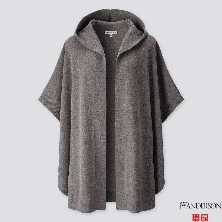 Women Lambswool-Blend Poncho (Jw Anderson), Gray, Large
