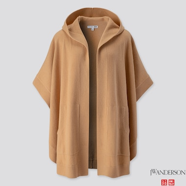 WOMEN LAMBSWOOL-BLEND PONCHO (JW ANDERSON), BEIGE, medium