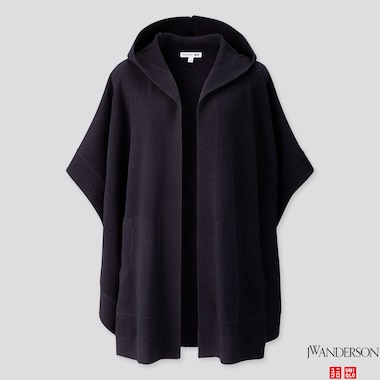 WOMEN LAMBSWOOL-BLEND PONCHO (JW ANDERSON), NAVY, medium