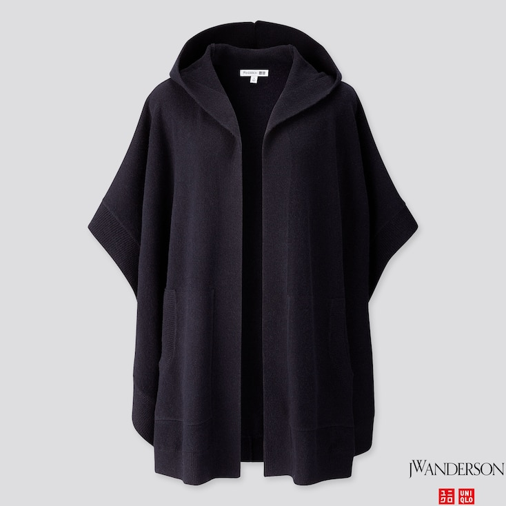 Women Lambswool-blend Poncho (jw Anderson), Navy, Large