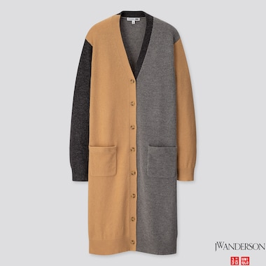 WOMEN LAMBSWOOL-BLEND LONG CARDIGAN (JW ANDERSON), BEIGE, medium