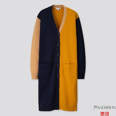 WOMEN LAMBSWOOL-BLEND LONG CARDIGAN (JW ANDERSON), NAVY, medium