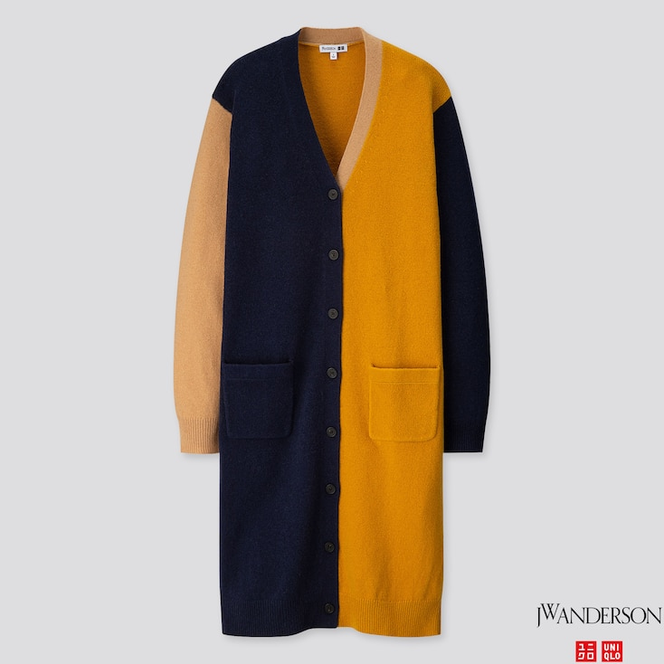 WOMEN LAMBSWOOL-BLEND LONG CARDIGAN (JW ANDERSON), NAVY, large