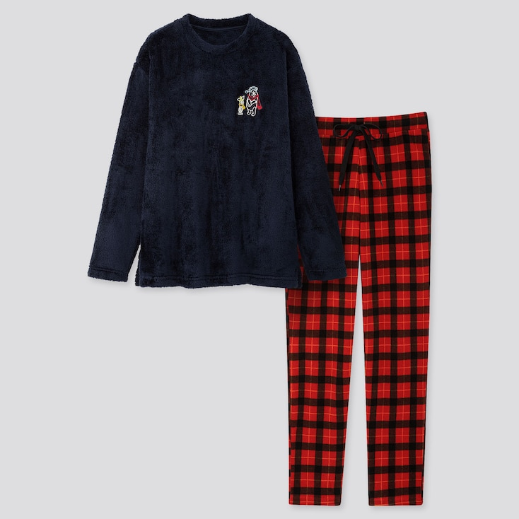 Women Disney Holiday Fleece Long-sleeve Set, Navy, Large