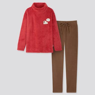 Women Peanuts Yu Nagaba Long-Sleeve Fleece Set, Red, Medium