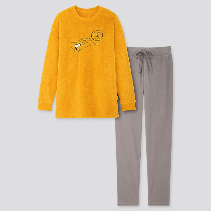 Women Peanuts Yu Nagaba Long-Sleeve Fleece Set, Yellow, Large