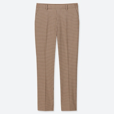WOMEN EZY CHECKED ANKLE LENGTH TROUSERS (L28)