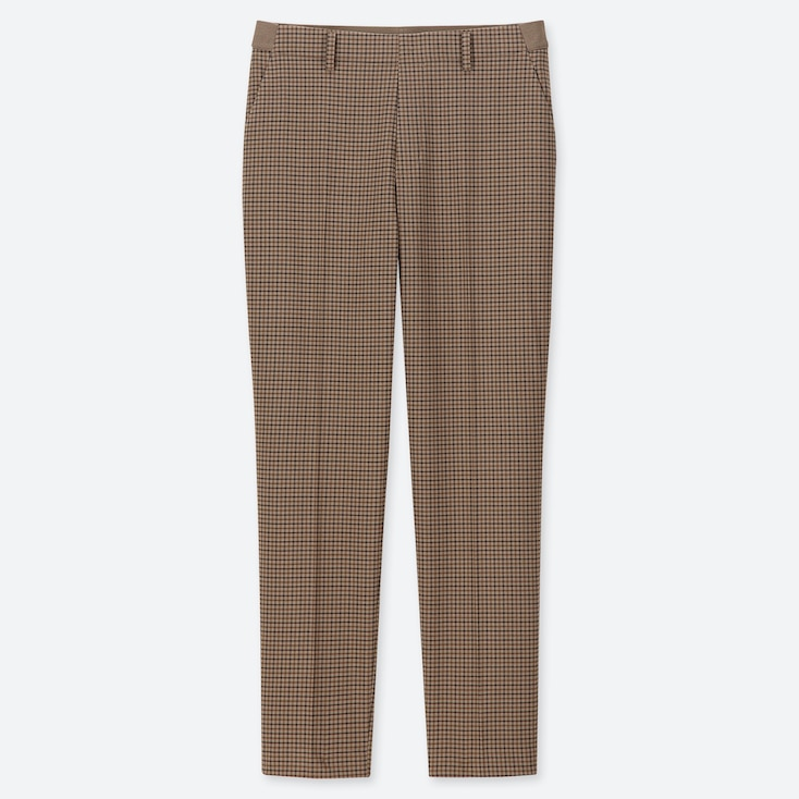 WOMEN EZY TATTERSALL ANKLE-LENGTH PANTS, BROWN, large