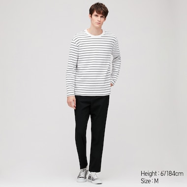 Men Striped Long-Sleeve T-Shirt, White, Medium