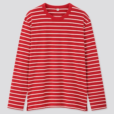 Men Striped Long-Sleeve T-Shirt, Red, Medium