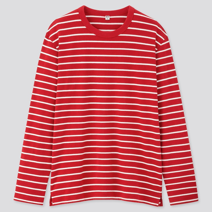 Men Striped Long-Sleeve T-Shirt, Red, Large