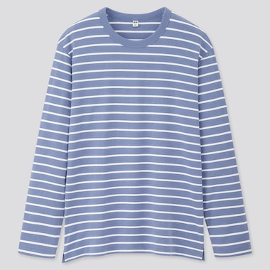 Men Striped Long-Sleeve T-Shirt, Light Blue, Medium