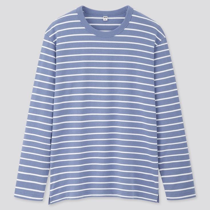 Men Striped Long-Sleeve T-Shirt, Light Blue, Large