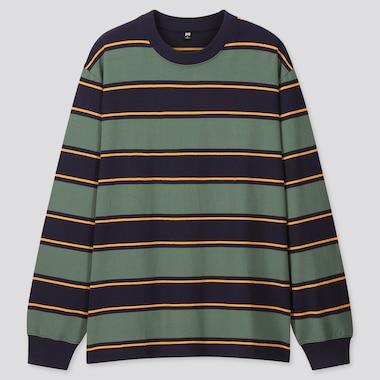 Men Striped Long-Sleeve T-Shirt, Green, Medium