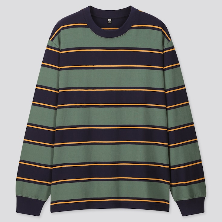 Men Striped Long-Sleeve T-Shirt, Green, Large