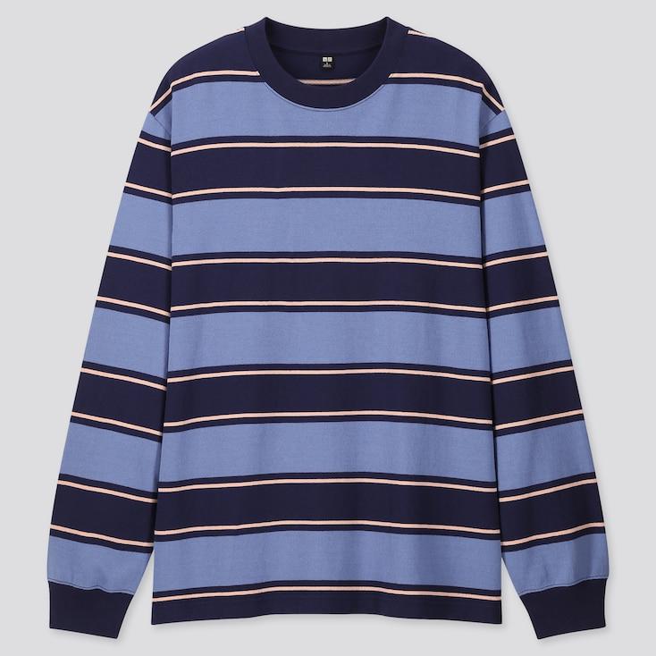 Men Striped Long-Sleeve T-Shirt, Blue, Large