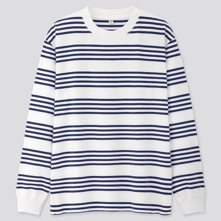 Men Striped Long-Sleeve T-Shirt, White, Large