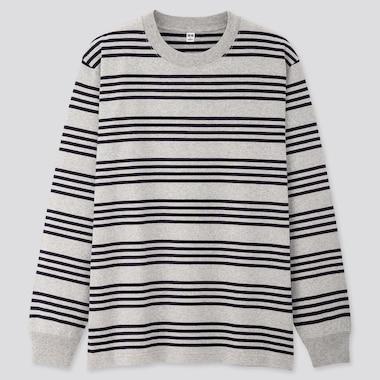 Men Striped Long-Sleeve T-Shirt, Gray, Medium