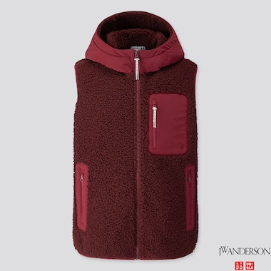 MEN WINDPROOF PILE-LINED FLEECE FULL-ZIP VEST (JW ANDERSON), WINE, medium