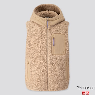 MEN WINDPROOF PILE-LINED FLEECE FULL-ZIP VEST (JW ANDERSON), BEIGE, medium