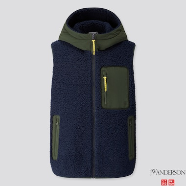 MEN WINDPROOF PILE-LINED FLEECE FULL-ZIP VEST (JW ANDERSON), NAVY, medium