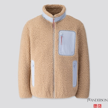 MEN WINDPROOF PILE-LINED FLEECE FULL-ZIP JACKET (JW ANDERSON), BEIGE, medium