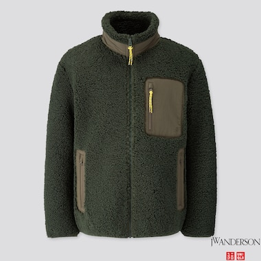 MEN WINDPROOF PILE-LINED FLEECE FULL-ZIP JACKET (JW ANDERSON), DARK GREEN, medium