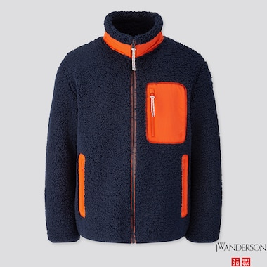 MEN WINDPROOF PILE-LINED FLEECE FULL-ZIP JACKET (JW ANDERSON), NAVY, medium
