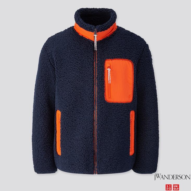 Men Windproof Pile-lined Fleece Full-zip Jacket (jw Anderson), Navy, Large