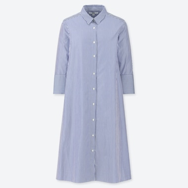 WOMEN EXTRA FINE COTTON A-LINE STRIPED 3/4 SLEEVE DRESS, BLUE, medium