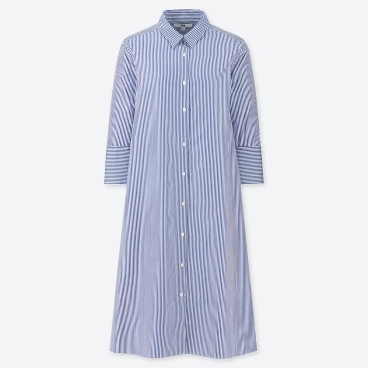 WOMEN EXTRA FINE COTTON A-LINE STRIPED 3/4 SLEEVE DRESS, BLUE, large