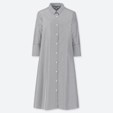 WOMEN EXTRA FINE COTTON STRIPED A-LINE 3/4 SLEEVED DRESS