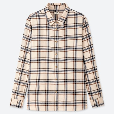 WOMEN FLANNEL CHECKED LONG-SLEEVE SHIRT, NATURAL, medium