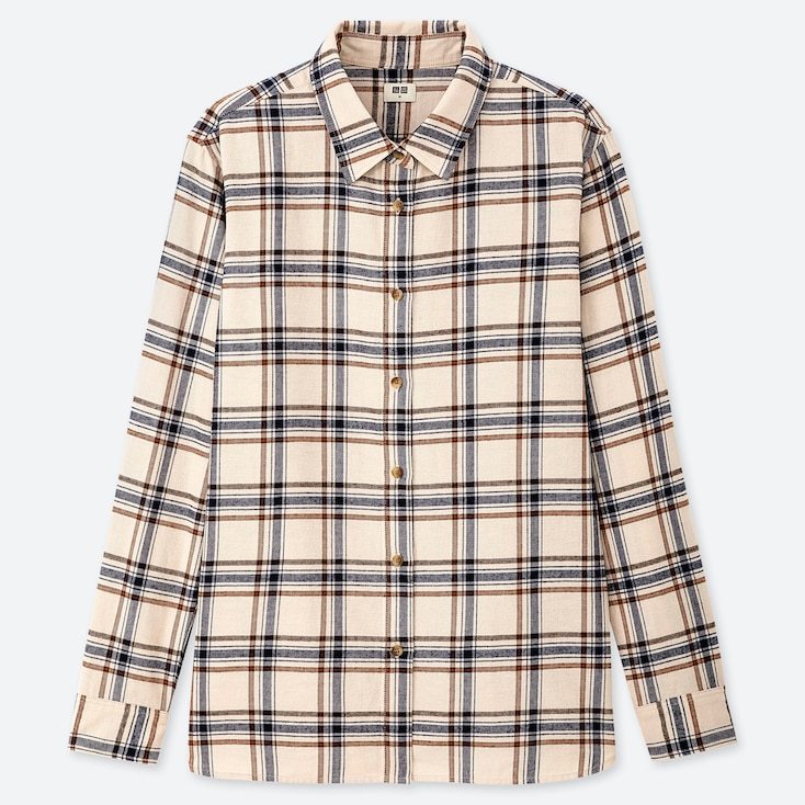 WOMEN FLANNEL CHECKED LONG-SLEEVE SHIRT, NATURAL, large