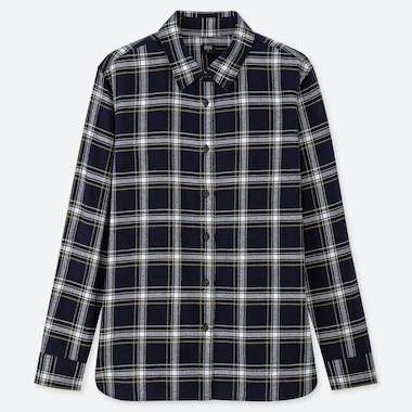 Women Flannel Checked Long-Sleeve Shirt, Navy, Medium