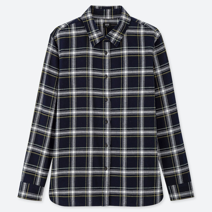 WOMEN FLANNEL CHECKED LONG-SLEEVE SHIRT, NAVY, large