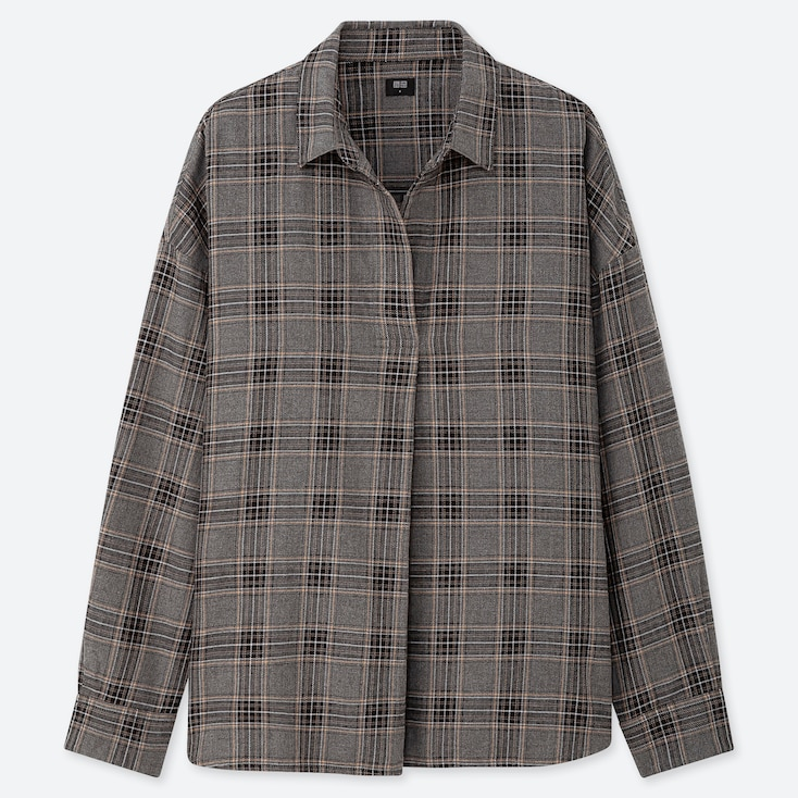 WOMEN FLANNEL CHECKED SKIPPER COLLAR LONG-SLEEVE SHIRT, GRAY, large