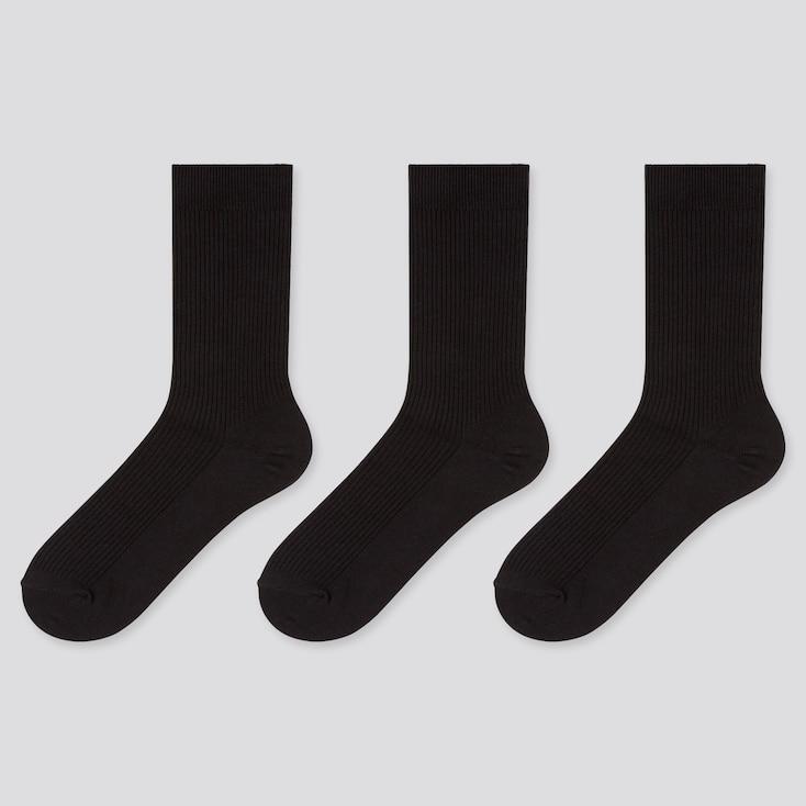 WOMEN RIBBED SOCKS (3 PAIRS), BLACK, large